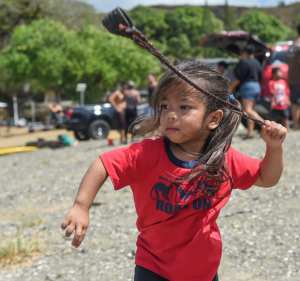 Guma' Mahiga and Acho Marianas Chamorro Slinging Demonstration Umatac Bay. 500 Years